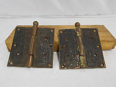 2 Extra Large Antique Victorian Eastlake Hinges Late 1800's Church Entrance Door