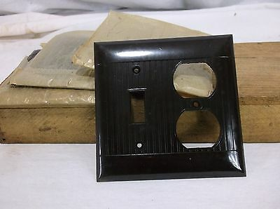 Vtg NOS Sierra BAKELITE COMBO Single Wall Light Switch/Receptacle Plate Cover