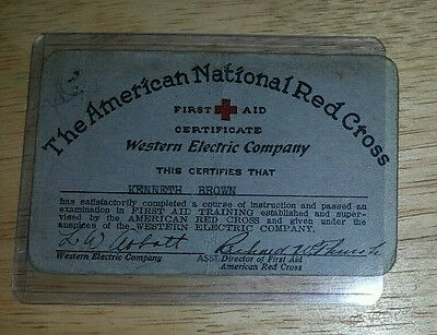 1929 American National Red Cross First Aid Certificate/Western Electric Company