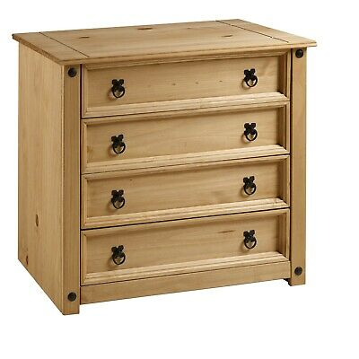 Corona Rustic 4 Drawer Chest of Drawers Mexican Solid Pine by Mercers Furniture®