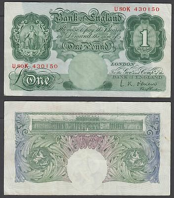 Great Britain 1 Pound 1955-60 (VF+) Condition Banknote P-369c (U80K)