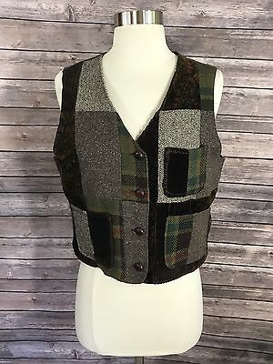 VTG 90s Gap Womens Vest Size Medium Brown Green Patchwork Sleeveless Top