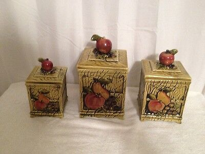 Vintage Set of 3 Square Green With Apple & Pears Canister Set # 3755