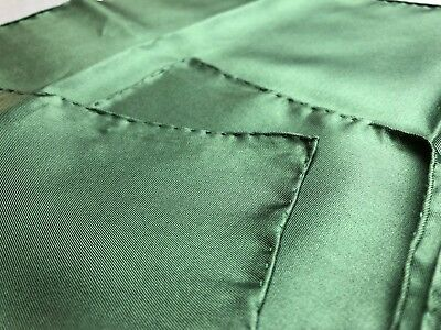 Ashear Solid Green Silk Hand Rolled Made Italy Pocket Square Handkerchief