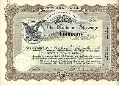 NEW YORK 1914, The Michener Stowage Co. Stock Certificate