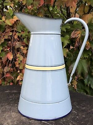 French antique Enamelware Body Pitcher Blue With Yellow Lines