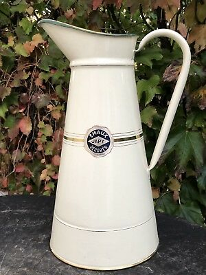 French antique Enamelware JAPY Body Pitcher Cream Colour Golden Lines