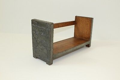 Antique Arts and Crafts wood pewter book trough shelf ends fish fishes snails