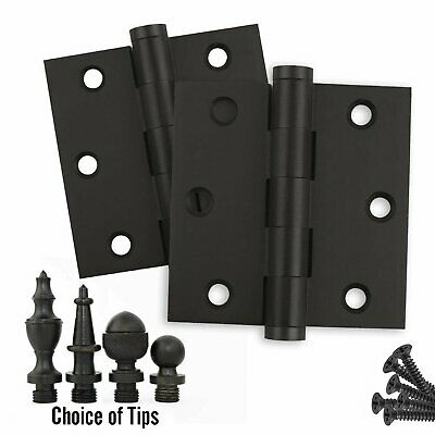Door Hinges 3 x 3 Solid Brass Oil Rubbed Bronze Architectural Grade - Set of 2