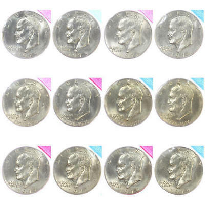 BU IKE dollar set 1973-1978 P D Eisenhower US Mint Cello Run Lot 12 Coin Set