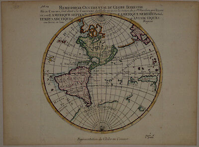 1704 Genuine Antique RARE Western Hemisphere Map in REVERSE. by Moullaer-Sanson