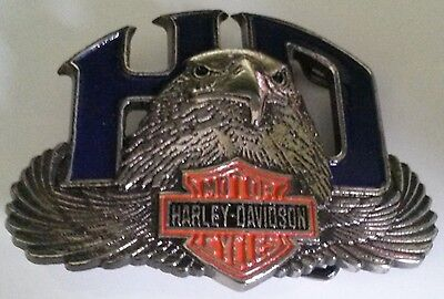 New Vintage Harley Davidson Baron Belt Buckle 1987 Solid Brass-HD Blue Enamel