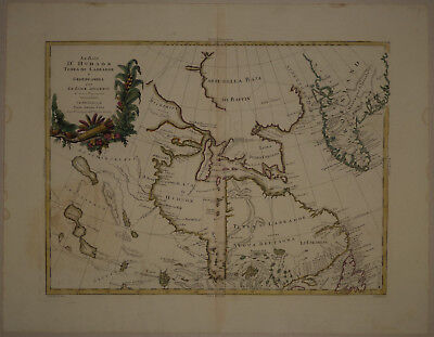 1778 Genuine Antique map Hudson's Bay, Greenland, Labrador. A. Zatta