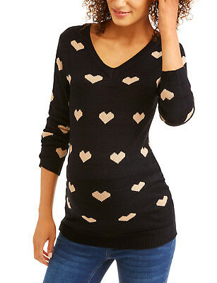 Oh! Mamma Maternity V-Neck Heart Sweater