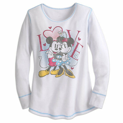 NWT Disney Store Mickey and Minnie Mouse Women Thermal Tee shirt Top XSSMLXL2XL