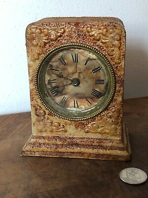 "ANTIQUE CAST IRON Mantle CLOCK 5"" Tall ROUND FACE Ornate Frame Alarm Bell AS IS"