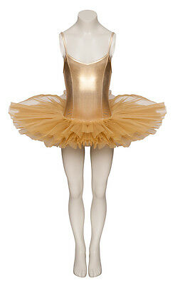 Gold Shiny Metallic Dance Ballet Leotard Tutu Halloween Christmas Fancy Dress