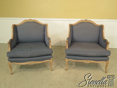 L23285E: Pair French Louis XV Style Wide Seat Marguie Bergere Chairs