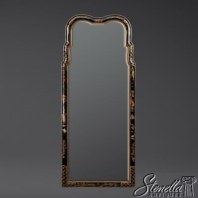 40384: Chinoiserie Black Paint Decorated Beveled Glass Arched Top Mirror ~ New