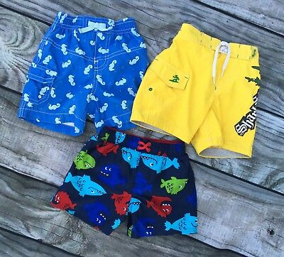 Lot of 3 boys swim trunks sz 6-12 mo, Old Navy, Gap, Carters, fish, blue, yellow