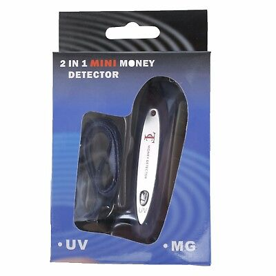 2 in 1 Mini Counterfeit Money Detector Tester / Fake Currency Checker (UV & MG)
