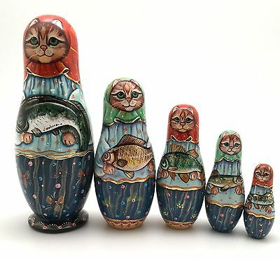 Russian Nesting Dolls CAT Mama w/Fish Hand Carved Hand Painted UNIQUE