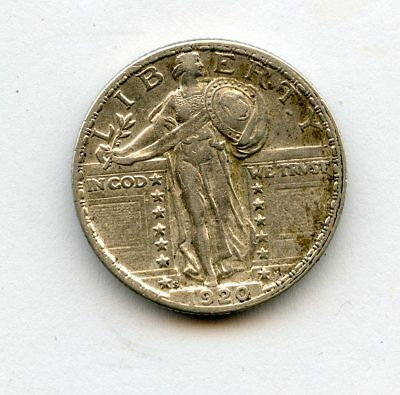 1920-S 25c Standing Liberty Quarter XF/AU Strong Date Reverse Light Cleaning