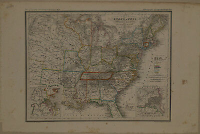 1834 Genuine Antique map of the United States. J.G. Heck