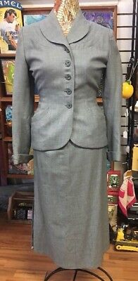 1940's Woman's 2 Piece Suit Blazer Jacket Long Skirt With Side Pleat Hour Glass