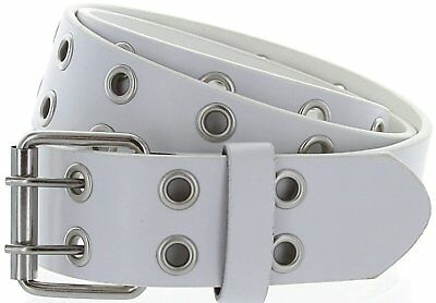 Hagora Women Double Hole 35 mm Wide Genuine Leather 2 Prong Metal Buckle Belt