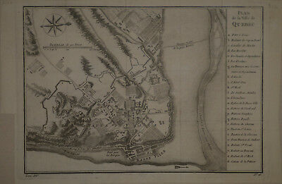 1758 Genuine Antique Map City of Quebec, Canada. by J.N. Bellin