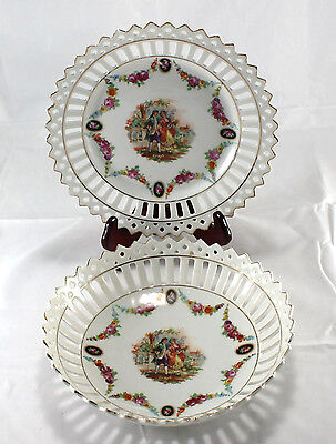 Vintage Reticulated Germany Victorian Couple Floral Gilded Plate & Bowl Set of 2