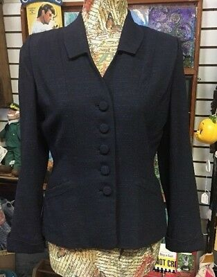 Vintage Navy Blue Blazer Jacket 100% Virgin Wool 1940's Military style Hipster