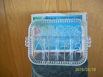 Indiana Glass Crystal Clear Vtg 5 Part Relish Condiments Platter Fruit Pattern
