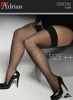 PLUS SIZE Hold ups Stockings 15 den Sheer Lace Top XL - XXXXL Adrian Gwenn