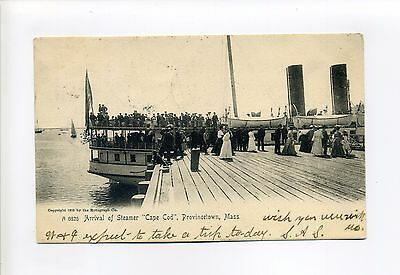 "Cape Cod MA Mass Arrival of Steamer ""Cape Cod"" people, dock, 1906 postcard"