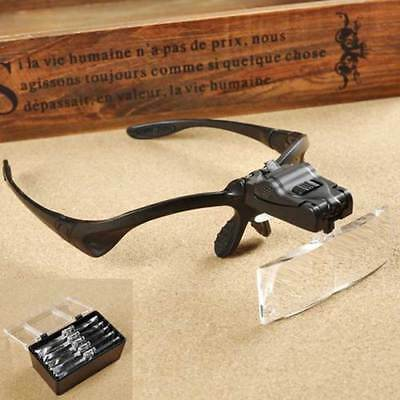 Adjustable 5 Lens LED Head Light Magnifier Magnifying Glass Loupe Headband