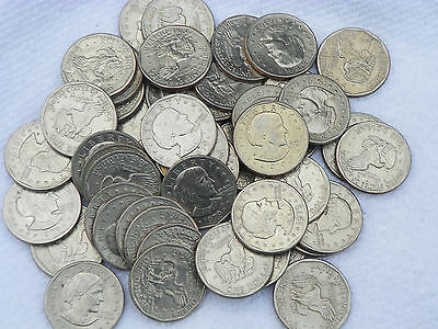 Bulk Lot of 50  Susan B Anthony Dollar Coins, Circulated Great Condition