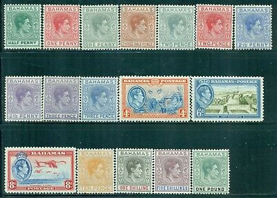 BAHAMAS 100-13 SG149-57 MH 1938-46 KGVI Defin set of 17 Cat$127