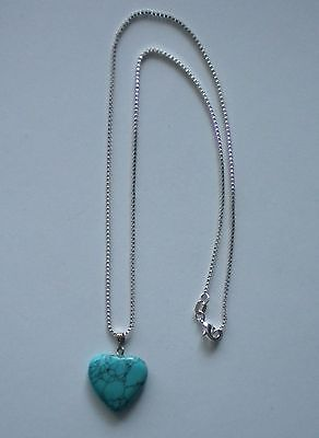 New Turquoise Crystal Gemstone Heart Pendant 925 Sterling Silver Necklace