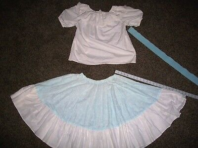 Square Dance Outfit Blue and White Skirt, belt, and  Blouse - Medium