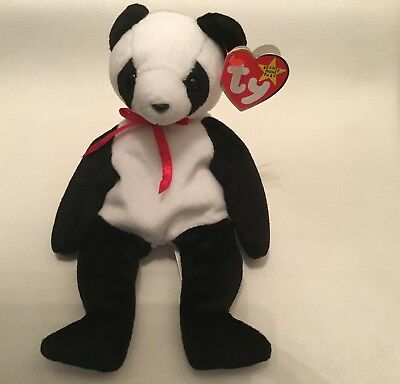 """Collectable Ty Beanie Baby """"Fortune"""" Panda Bear Great Condition Tush Error"""