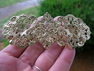 Vintage Nos 1980's Gold Lightweight Metal Hair Barrette French Clip Victorian