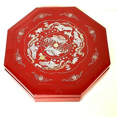 Vintage Korean Octagonal Red Lacquer Food Box With Elaborate Mother of Pearl