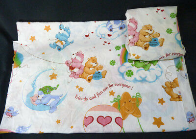 Vintage 80s Care Bears Bedding TWIN Size Flat & Fitted Sheets Sheet Set Carebear