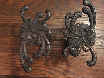 Pair of Vintage Art Nouveau Flower Dark Brass Metal Curtain Tie Backs