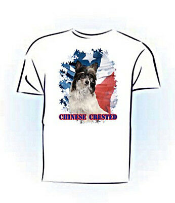Chinese Crested  puff  blk & whIite  #2   PERSONALIZED  Stars & Stripes T shirt