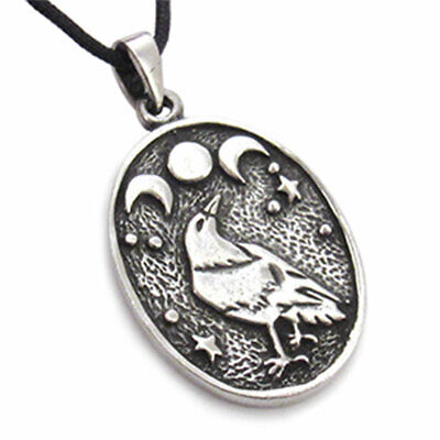 "Triple Moon Raven Pendant 1.25"" NEW Pewter Wicca Amulet w/ Cord - US Made!"