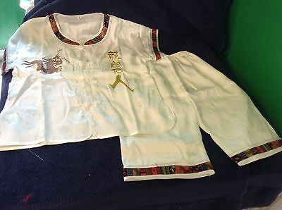 Cute Childs Chinese Matching Pants And Robe Costume w/Embroidered Dragon  NEW 10