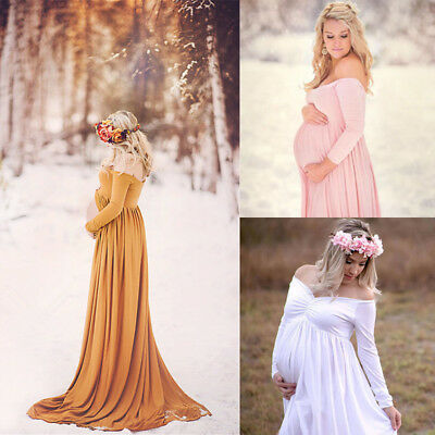 Pregnant Women Cotton Maternity Clothes Gown Photo Photography Prop Maxi Dress O